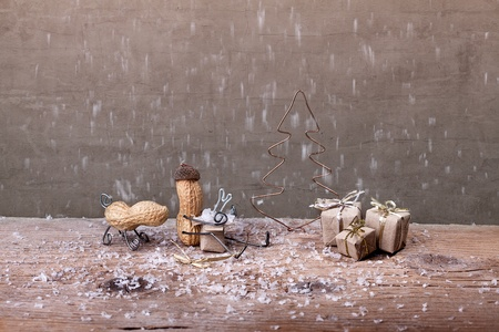 tinkered: Miniature with Peanut People on Christmas unpacking their presents
