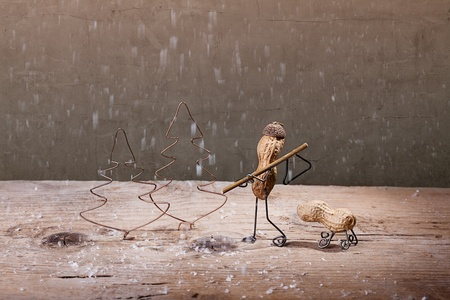 tinkered: Miniature with Peanut People in the Forest to Fell a Christmas Tree