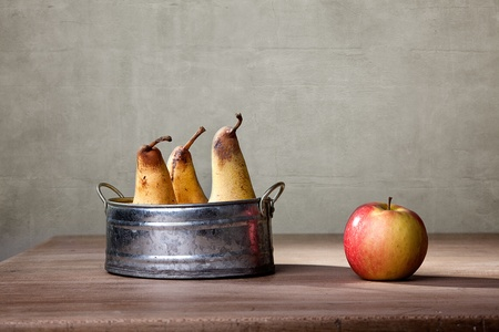 Still Life with Apple and Pears in metal Bowl photo