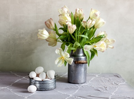 country life: Still Life with Tulips in old milk can and eggs
