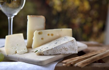hard cheese: Three kinds of french cheese and a glass of white wine Stock Photo