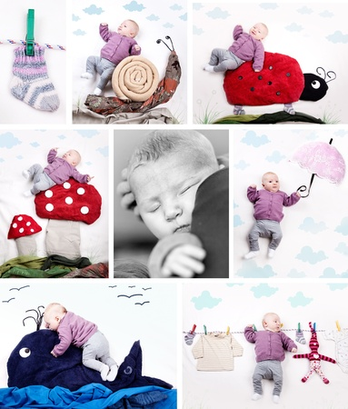 hanging toy: Collage of different baby pictures of 4 month old girl
