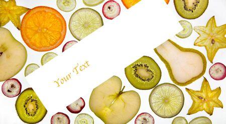 Variety of fresh ripe fruits sliced on white background Stock Photo - 14474145