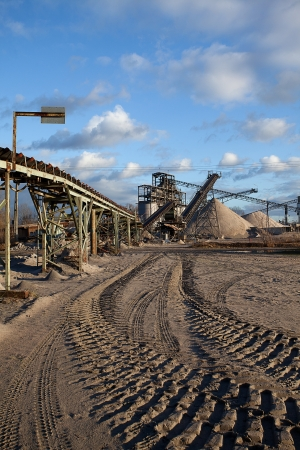 Open pit mining and processing plant for crushed stone, sand and gravel to be used in the roads and construction industry Stock Photo