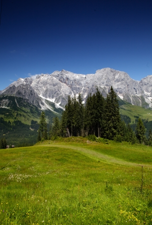berchtesgaden: View of the Hochkoenig Mountains in the Austrian Alps from Muehlbach Stock Photo