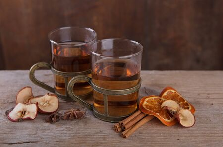 spiced: Still Life with spiced fruit tea in for cold days in autumn and winter Stock Photo