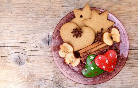 Christmas theme Still-Life with Gingerbread and Cinnamon Star Cookies and Spices on glass plate Stock Photo - 15937619