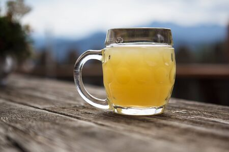 Pint of fresh Apple Spritzer served in an alpine chalet in Austria Stock Photo - 17322428
