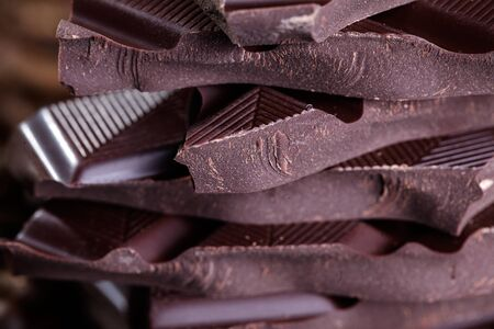 Fresh roasted coffee beans and stack of brown chocolate Stock Photo - 17323978