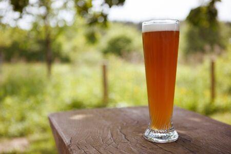biergarten: Full Glass of freshly tapped wheat beer serverd in an rustic beer garden in Germany Stock Photo