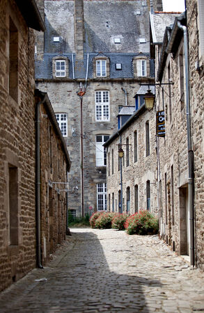 dinan: View of old city of Dinan in Brittany, France Stock Photo