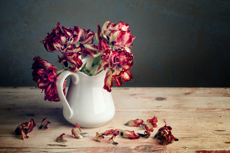 사기 그릇 수에 빨간 튤립 꽃 아직도 인생
