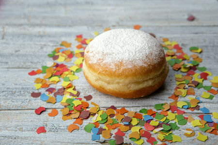 childs birthday party: Jelly Donut and Confetti decorstion at a childs birthday party Stock Photo