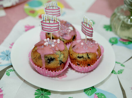 childs birthday party: Colorful home made Blueberry Muffins at childs birthday party