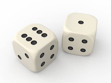 Two Dice Cubes showing One and Six Points photo