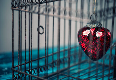 are trapped: Red Heart trapped inside an old rusty bird cage