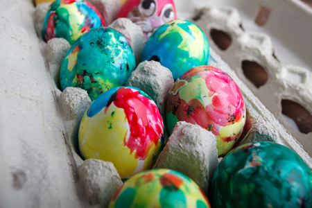 messy eater: Colorful Eater Eggs painted and decorated by a Child