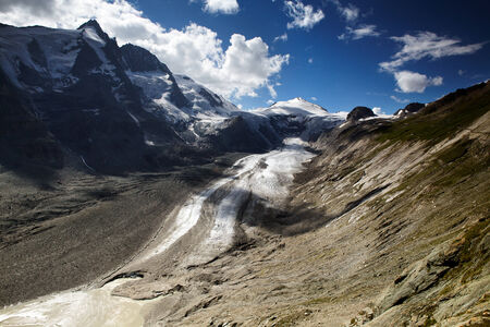 grossglockner: View of the Pasterze Glacier in the Austrian Alps at the Grossglockner Stock Photo