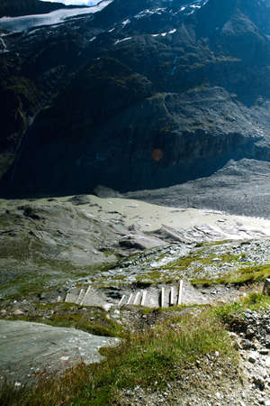 shrinking: View of the Pasterze Glacier in the Austrian Alps at the Grossglockner Stock Photo