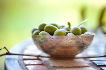 harvested: Still Life with Fresh green Olives harvested from Tree on Italian Farm