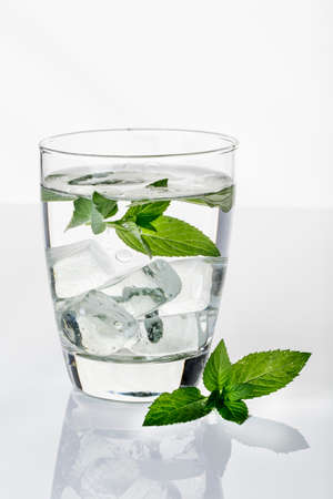 icecube: Cold Water with ice cubes and fresh mint leaves