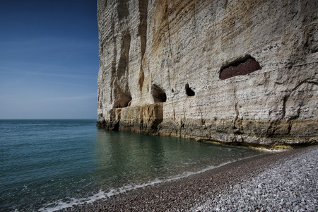 normandy: French coast with Steep Cliffs in Normandy France near Etretat