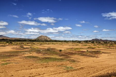 View of the desert landscape on the island of Cape Verde in Summer Stock Photo