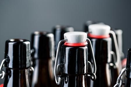 Empty beer bottles with swing top Stock Photo