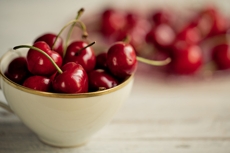 Ripe and bright red sweet cherries