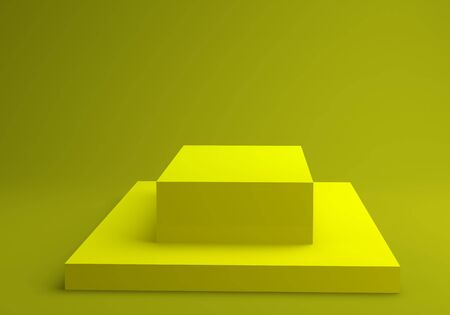 Yellow cubes stage 3D render illustration on yellow background Zdjęcie Seryjne