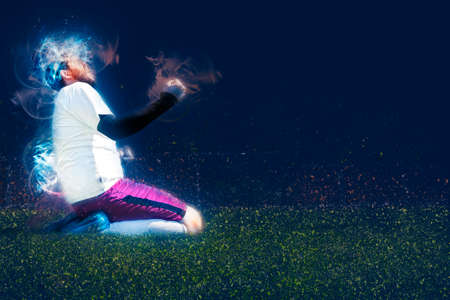 soccer player celebrating goal on a soccer field during the match, abstract muscles