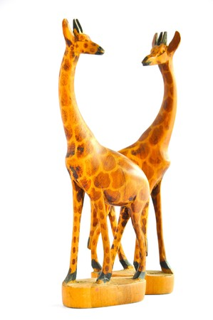 odd jobs: Two Wood Giraffes on white background
