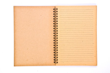 old notebook: Open Blank page of Recycle Paper Notebook Stock Photo