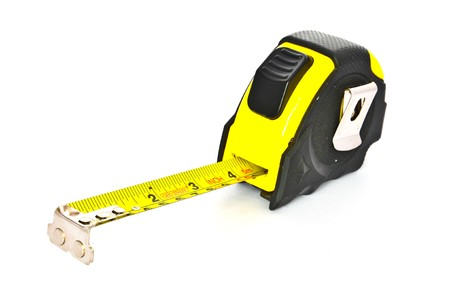 cm: Black and yellow Tapemeasure on white Background Stock Photo