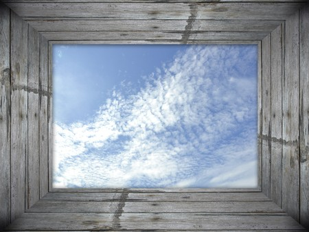 picture window: Sky in Wooden Frame