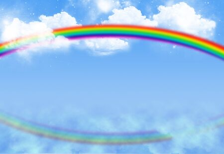 Rainbow on bluesky with clouds and reflection Stock Photo