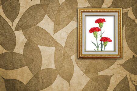 clavel: Clavel en marco de oro en el patr�n de hojas de papel tapiz