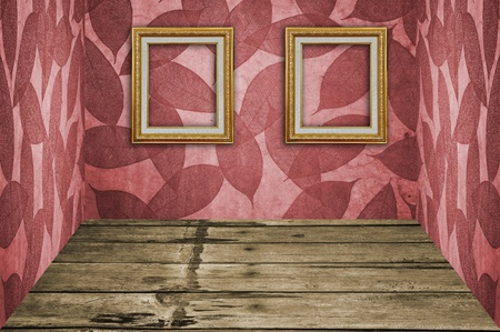 Red Leaves Pattern Room with 2 Picture frames photo