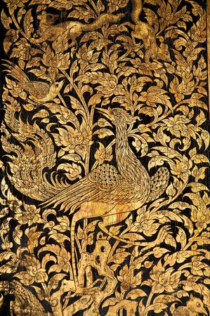 Tradition Thai Painting Style, wood texture photo