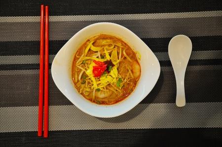 singaporean: Sarawak Laksa, Shrimp soup noodle of sarawak, malaysia