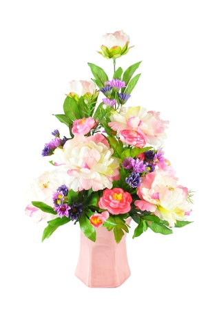 artificial flower: Colorful Artificial Flower Arrangement on white background