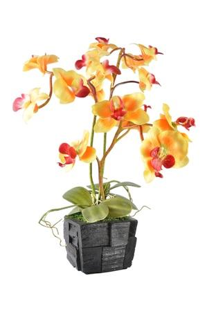 artificial flower: Artificial Flower Arrangement (Yellow Vanda in the wood pot) Stock Photo