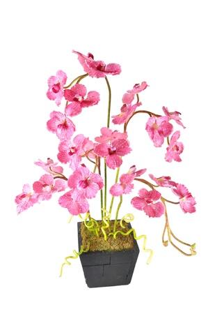 Arreglo floral artificial (Vanda rosa en el bote de madera) Foto de archivo - 11286328