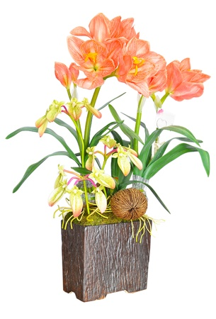 Artificial Orange flower arrangement photo
