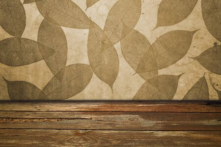 Leaf background and wood floor photo