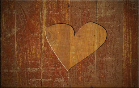 Heart on the wood board photo