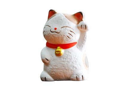 Maneki Neko (Japanse Onthaal Kat, Lucky Cat, Cat Swipe, Geld kat, of Fortune Cat) Stockfoto