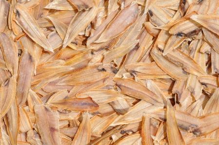 Dried Fish on Bamboo threshing basket Stock Photo