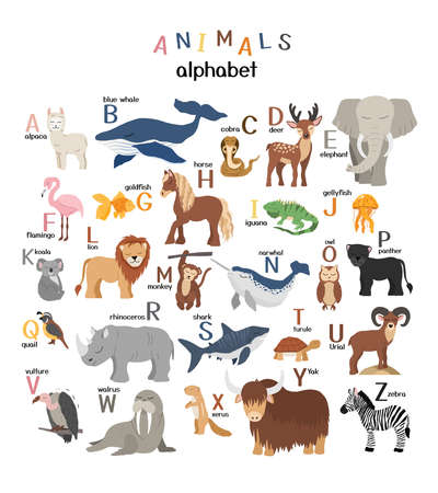 Vector letters of the alphabet with cute animals for kids education. Hand drawn style characters and latin letters.