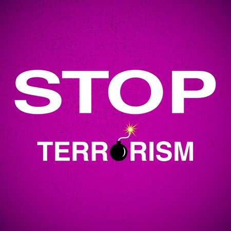 illustration with stop terrorism background
